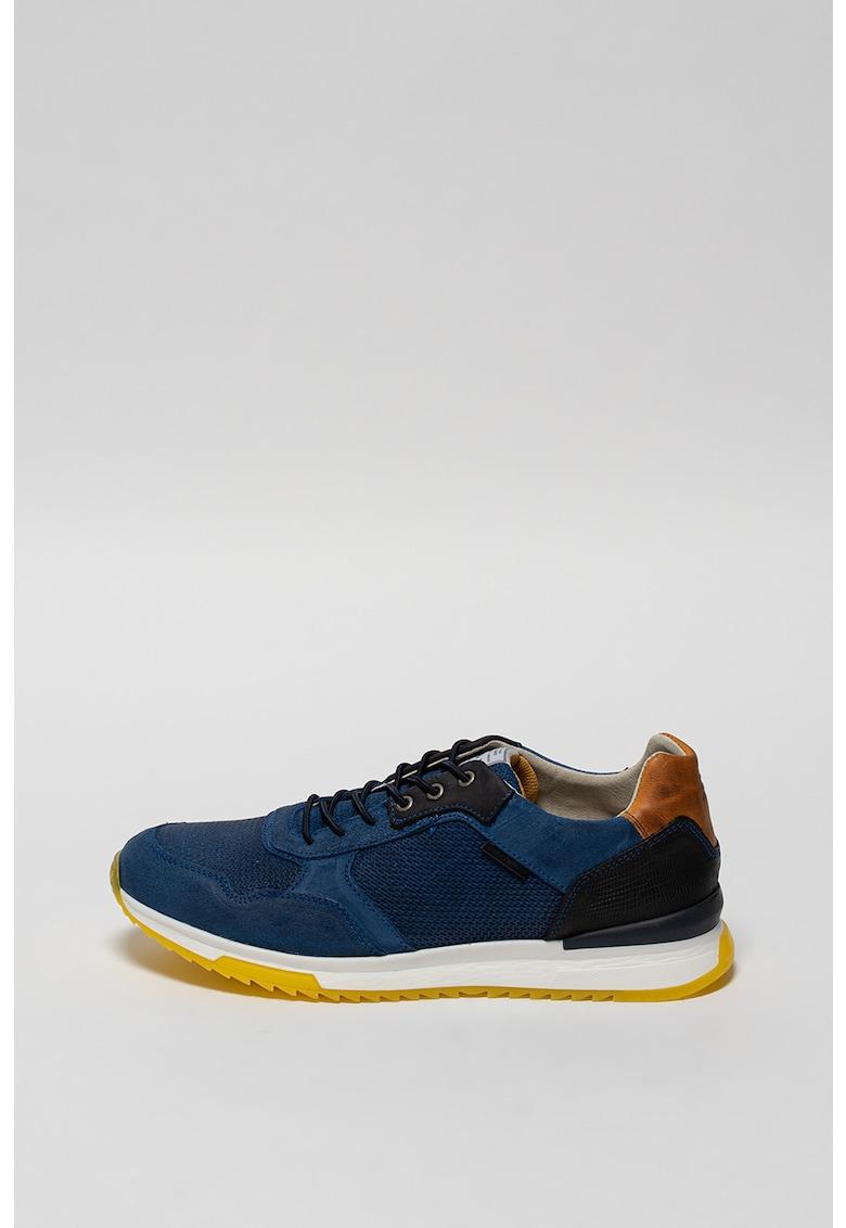 Pantofi sport de piele intoarsa cu aspect colorblock