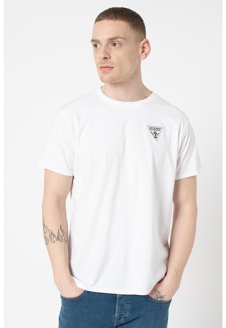 Tricou regular fit cu logo si decolteu la baza gatului