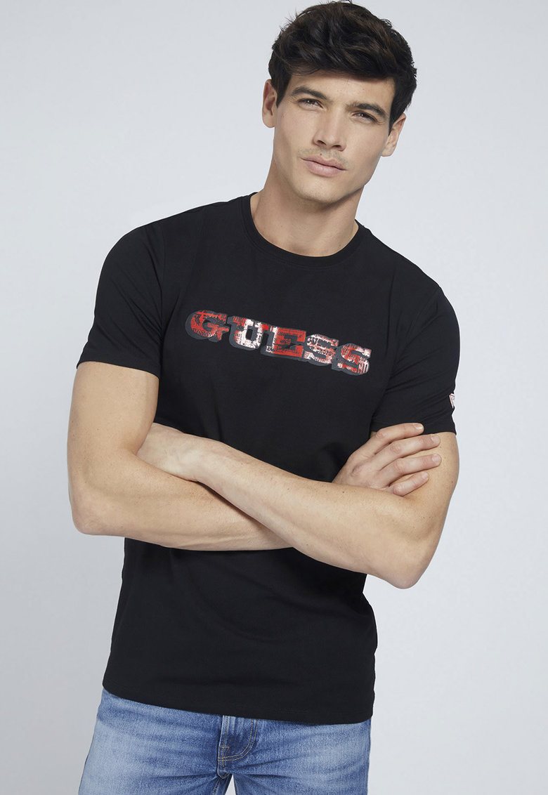 Tricou slim fit cu imprimeu logo Bărbați imagine