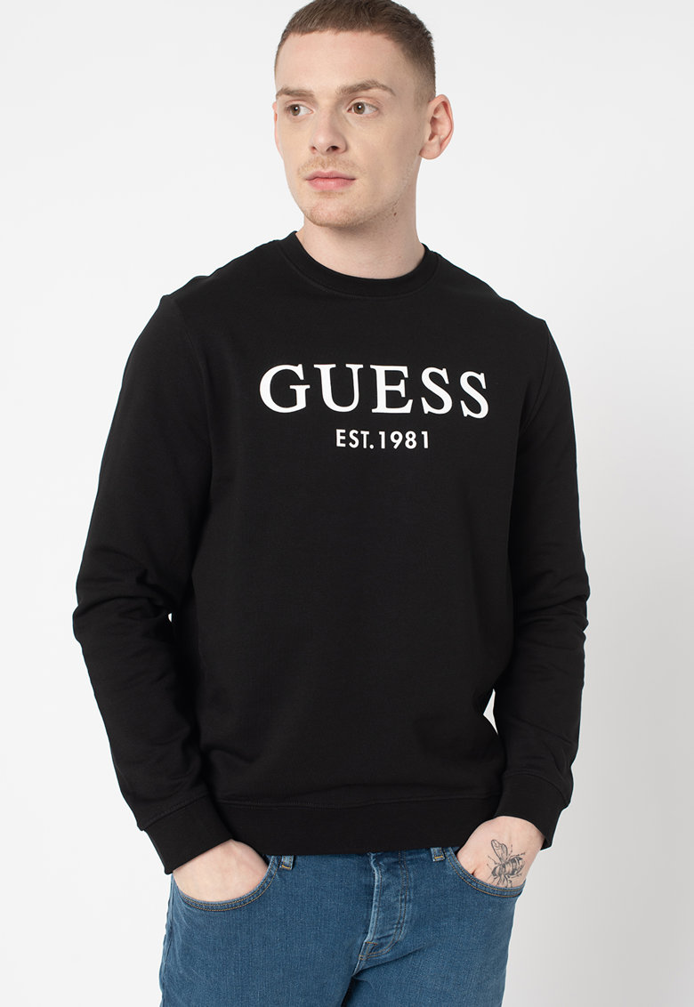 GUESS JEANS Bluza sport slim fit cu decolteu la baza gatului si imprimeu logo