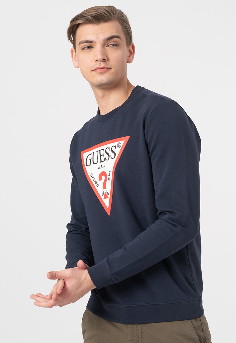 Bluza sport slim fit cu decolteu la baza gatului de la GUESS JEANS