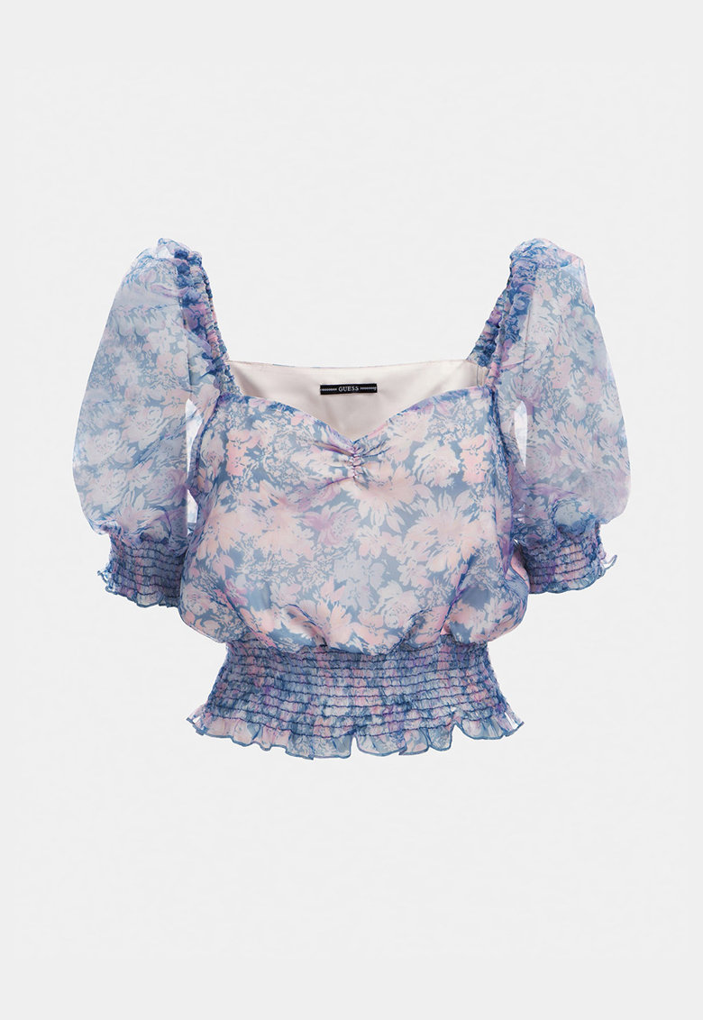 Bluza crop cu imprimeu floral si decolteu sweetheart imagine