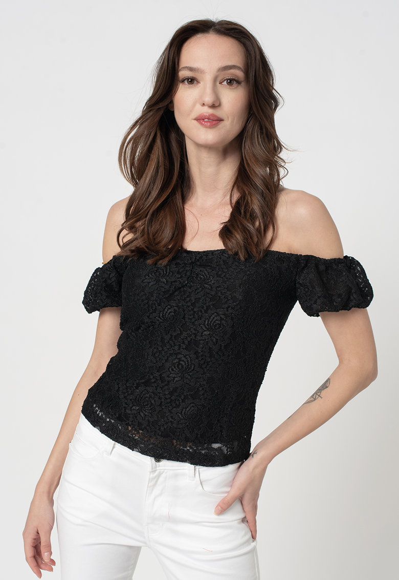 Rochie de dantela cu decolteu pe umeri imagine fashiondays.ro GUESS JEANS