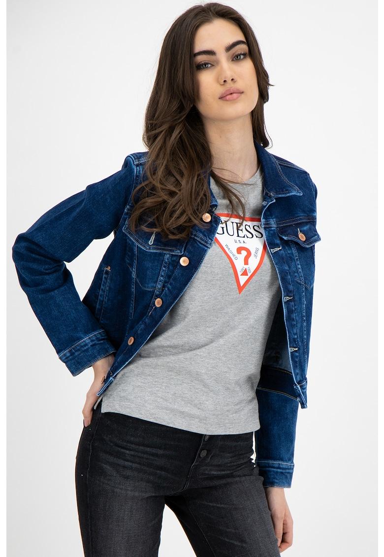 Jacheta scurta din denim si amestec de modal
