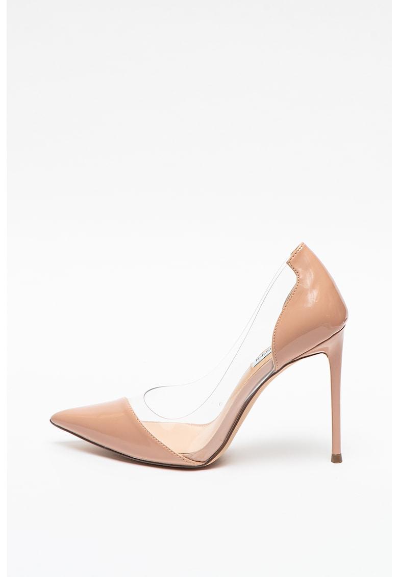 Pantofi stiletto de piele ecologica cu design transparent Marjorie imagine