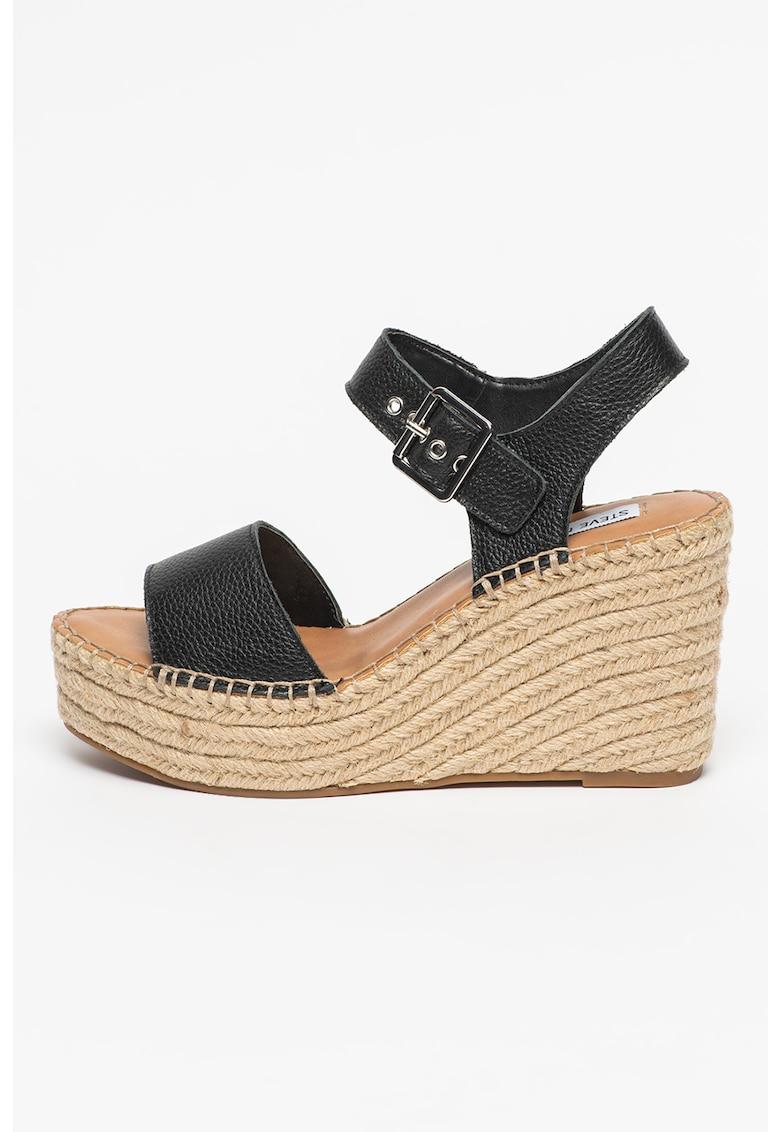 Sandale tip espadrile de piele cu talpa wedge Yunity