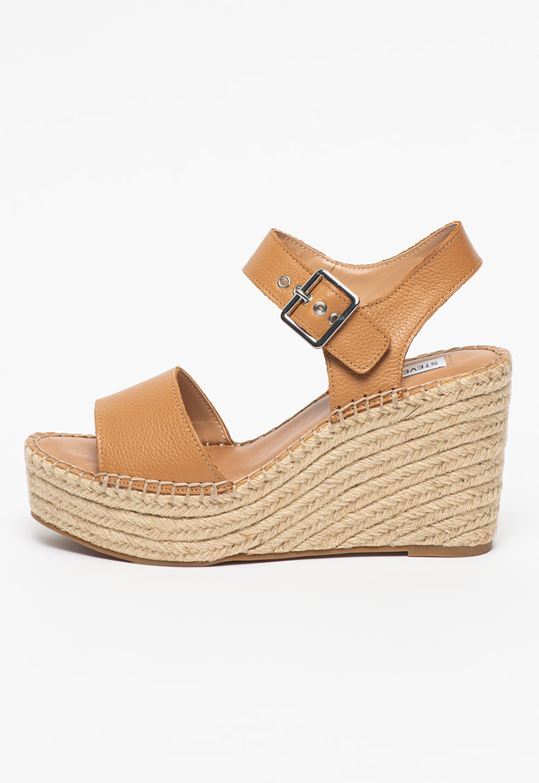 Sandale tip espadrile de piele cu talpa wedge Yunity Steve Madden fashiondays.ro