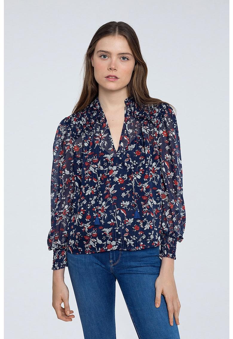 Bluza cu imprimeu floral si mansete elastice