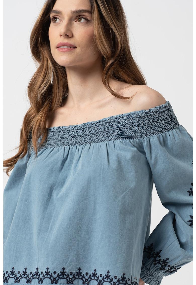 Bluza cu decolteu pe umar si mansete elastice