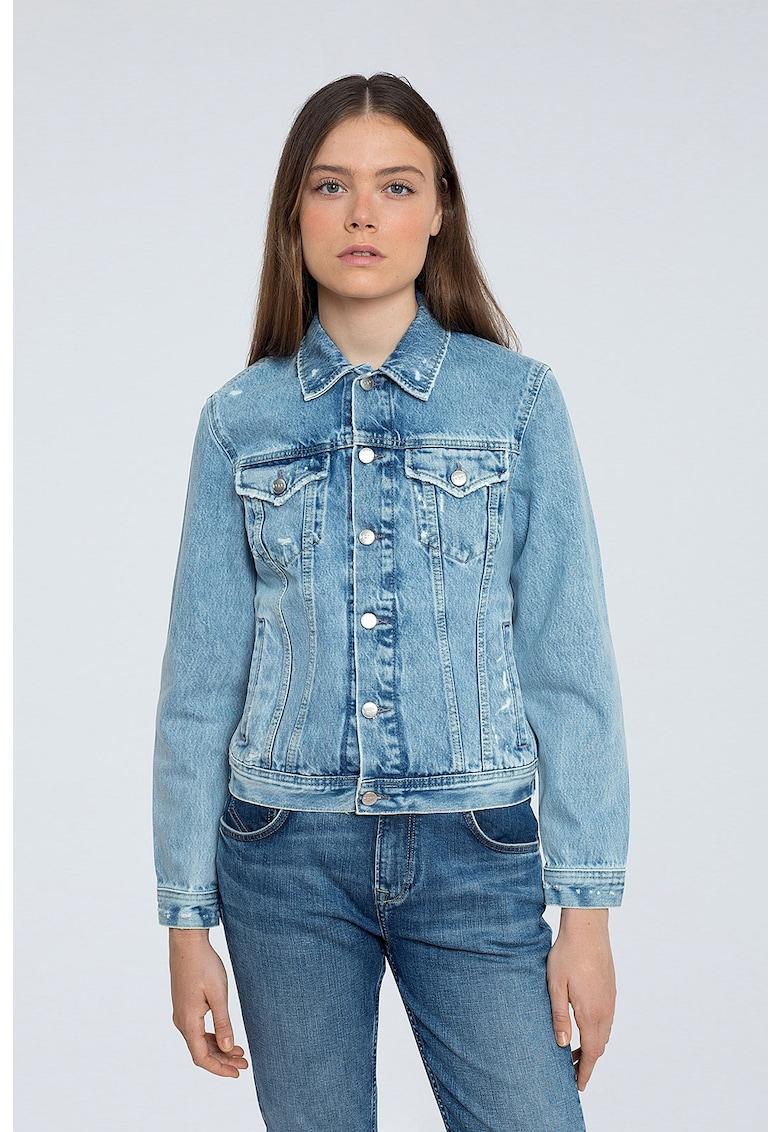 Jacheta din denim cu aspect decolorat imagine promotie