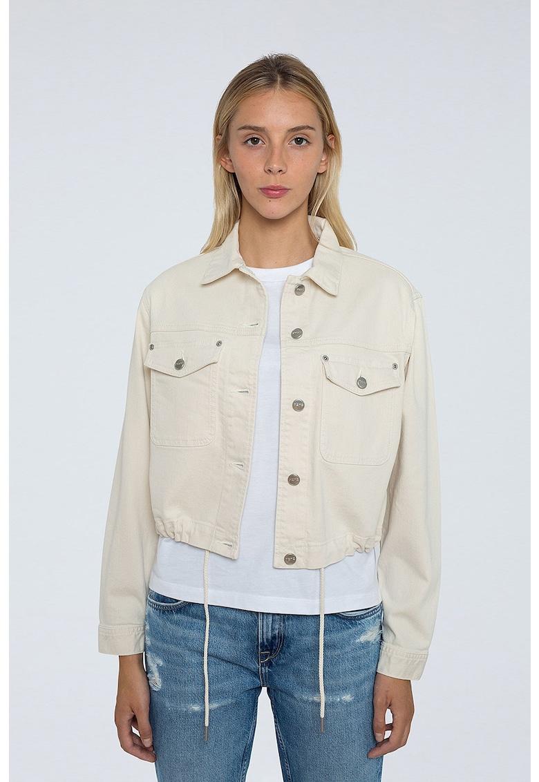 Jacheta din denim cu snur