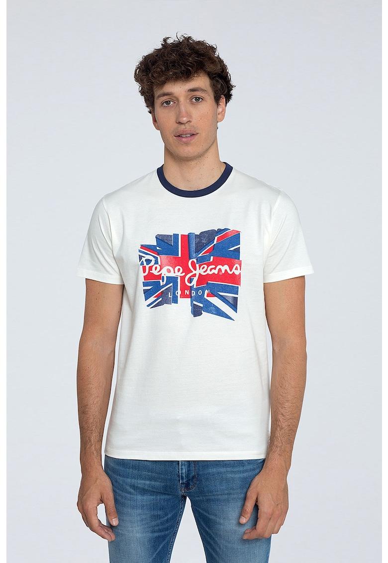 Tricou cu decolteu la baza gatului si imprimeu logo 3 imagine