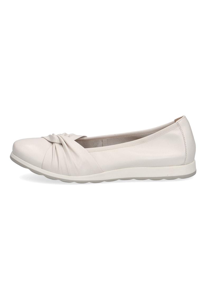 Balerini dama Caprice de piele cu design innodat albi