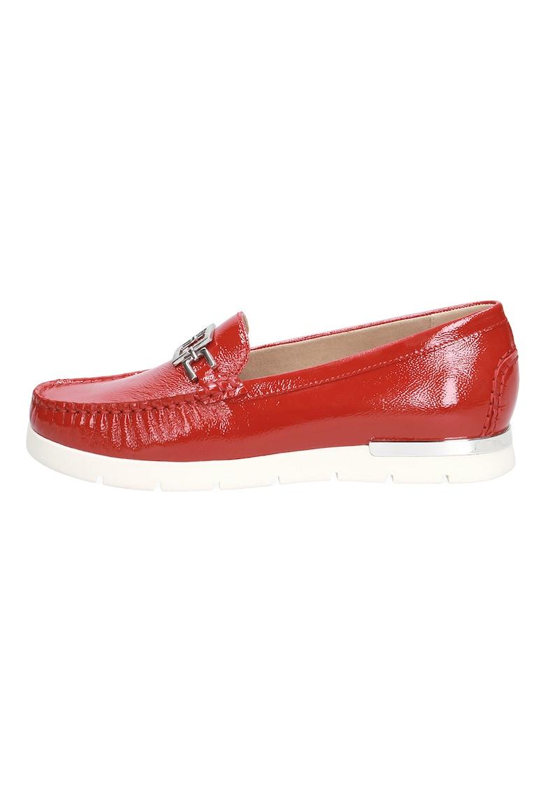 Pantofi loafer de piele lacuita cu detaliu lant
