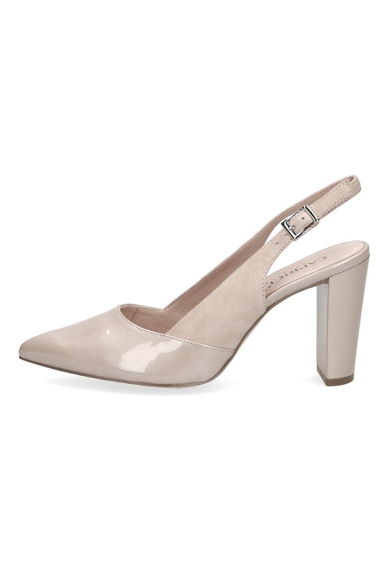 Pantofi slingback de piele cu toc masiv