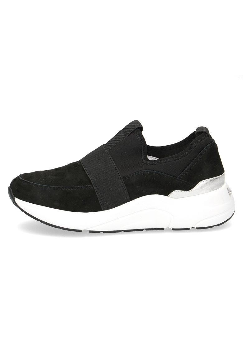 Pantofi sport wedge slip-on de piele intoarsa cu material textil