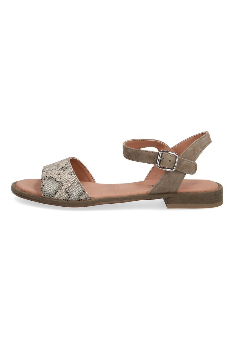 Sandale de piele cu garnitura cu animal print de la Caprice