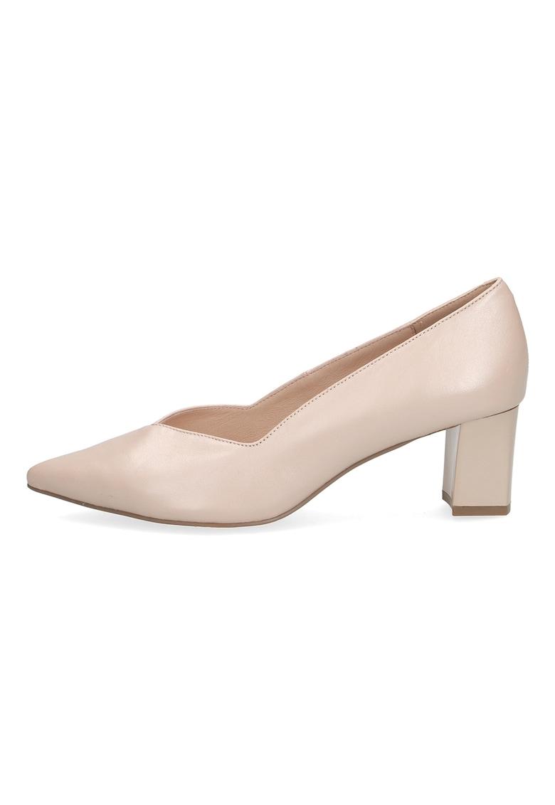 Pantofi de piele cu toc masiv