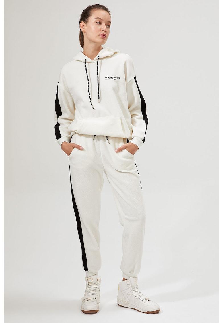 Pantaloni sport din fleece cu insertii contrastante