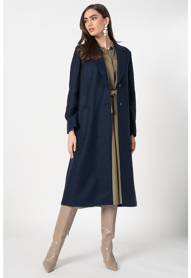 Palton din lana cu buzunare cu refilet