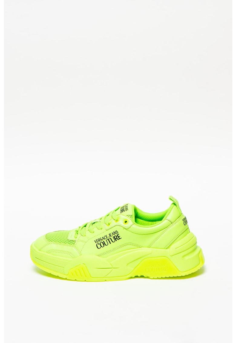 Pantofi sport din piele cu insertie din plasa