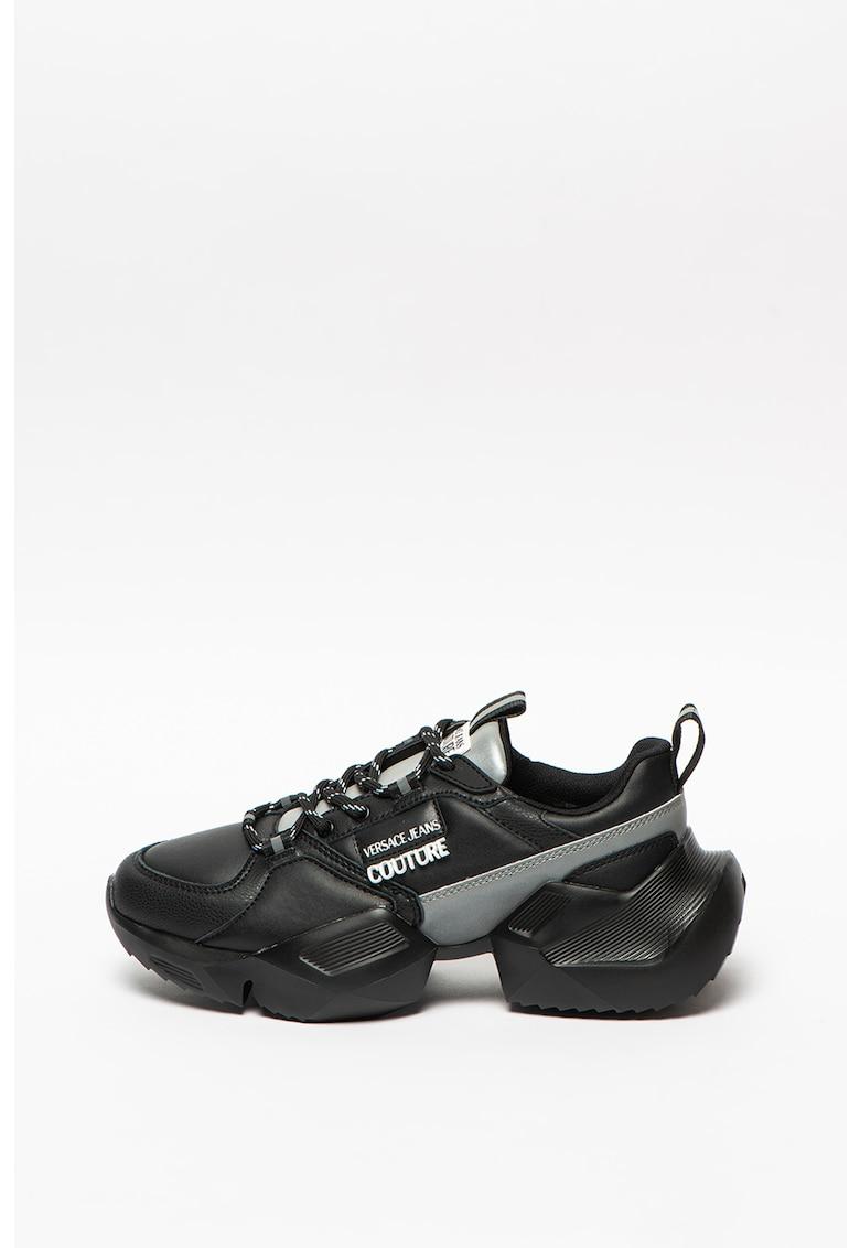 Pantofi sport din piele si piele ecologica cu aspect masiv