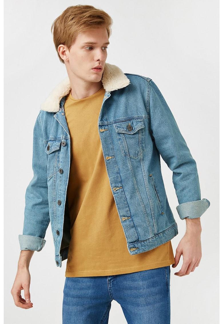 Jacheta din denim cu garnitura detasabila din blana sintetica
