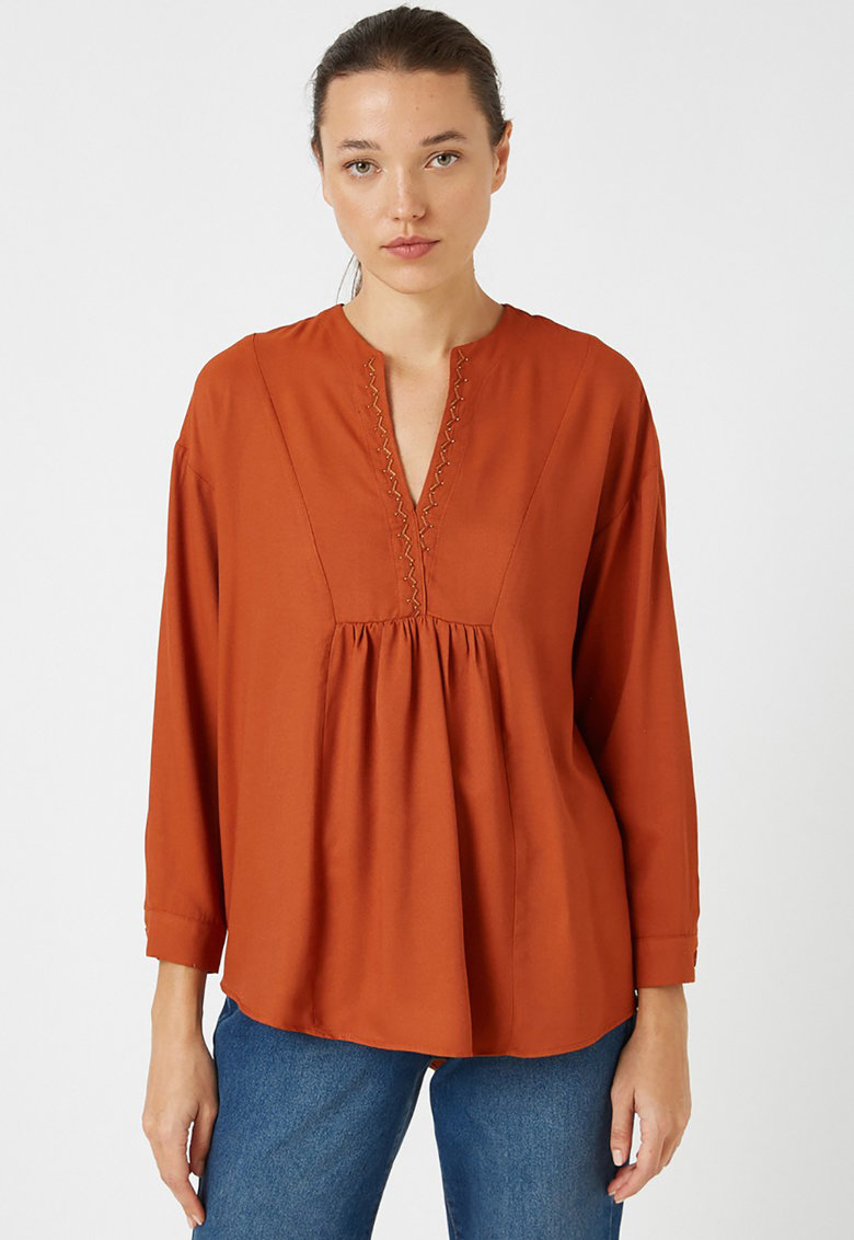 Bluza tip tunica cu cusaturi decorative