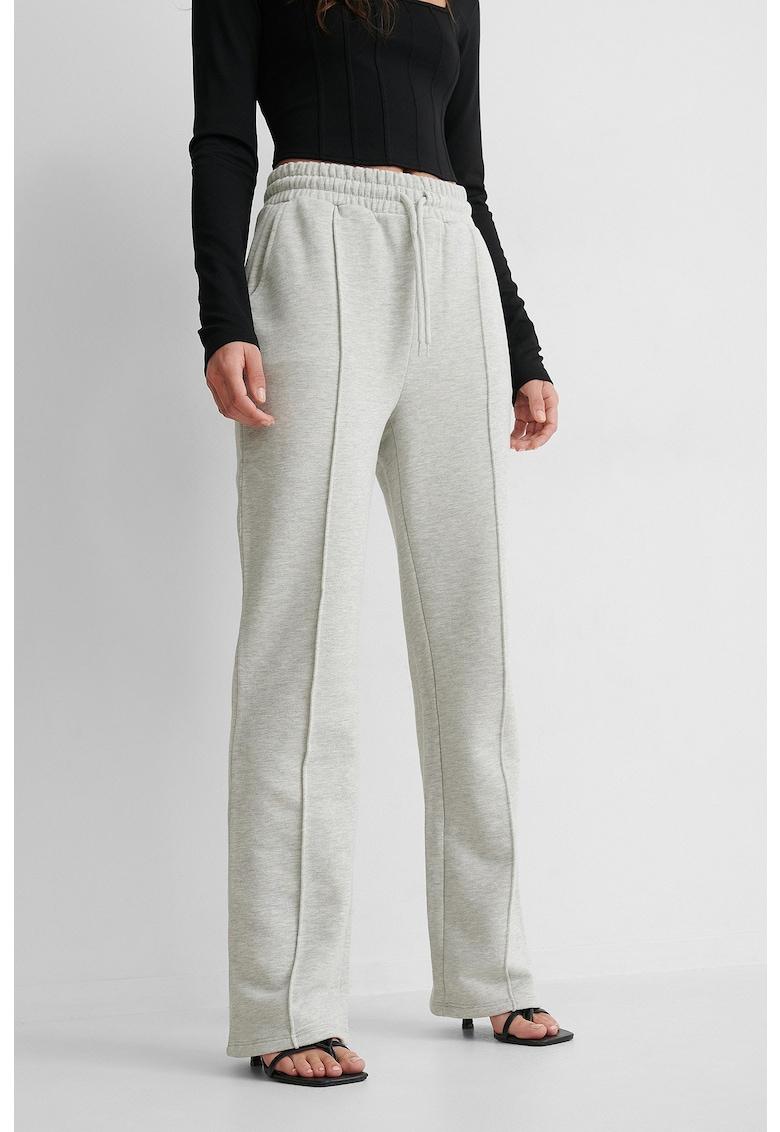Pantaloni sport cu talie inalta si snur in talie