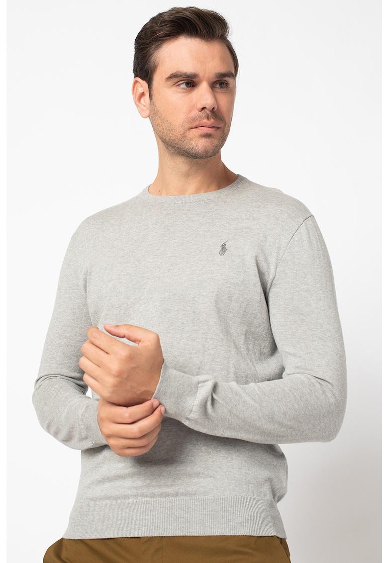 Pulover tricotat fin cu decolteu la baza gatului de la Polo Ralph Lauren