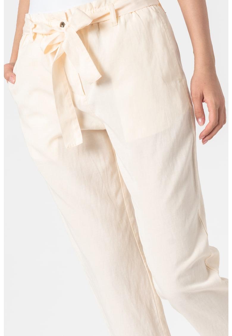 Pantaloni crop din amestec de in