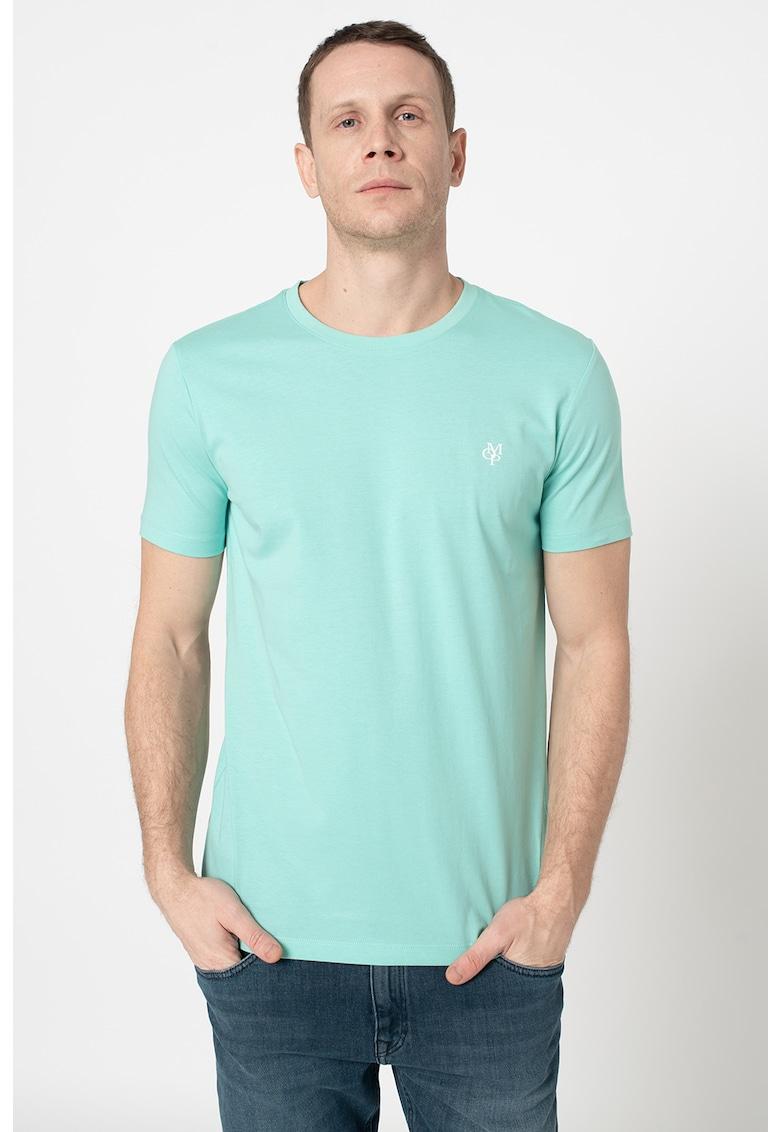 Tricou cu decolteu la baza gatului si imprimeu logo discret Bărbați imagine