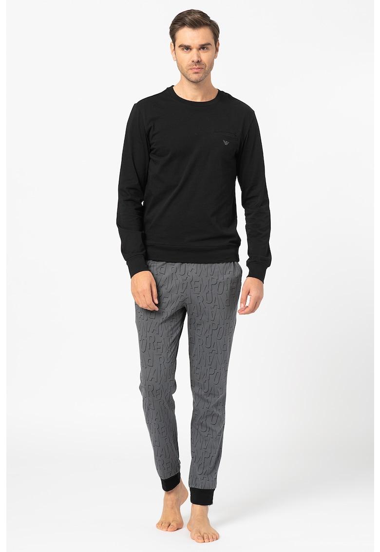 Bluza cu imprimeu logo si pantaloni de pijama