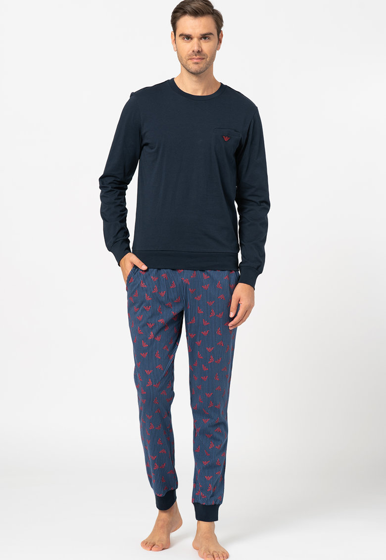 Bluza cu imprimeu logo si pantaloni de pijama imagine
