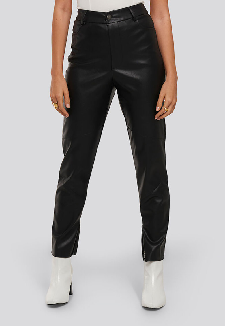 Pantaloni de piele ecologica cu talie inalta