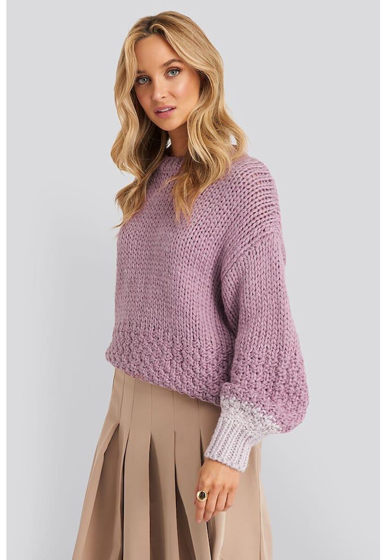 Pulover tricotat gros cu accente colorblock