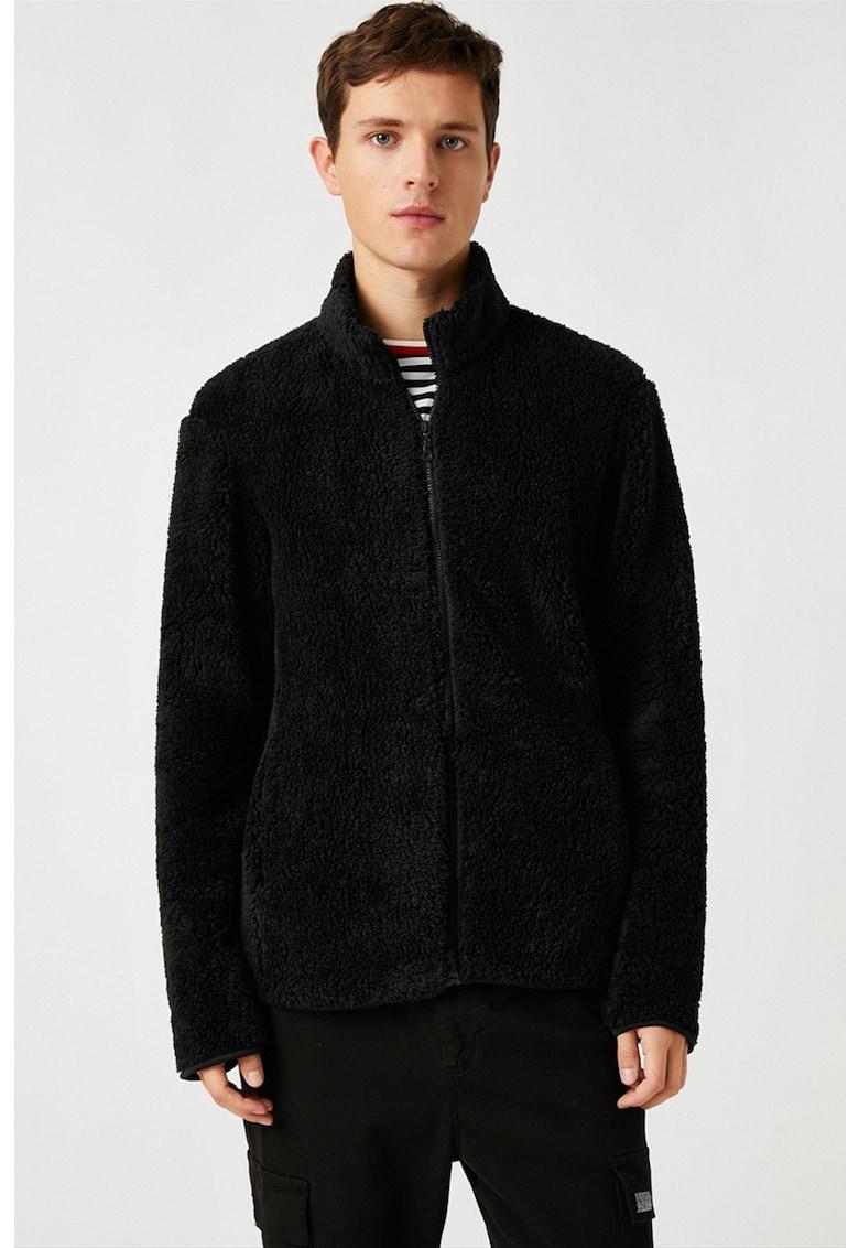 Jacheta din material teddy cu fermoar imagine