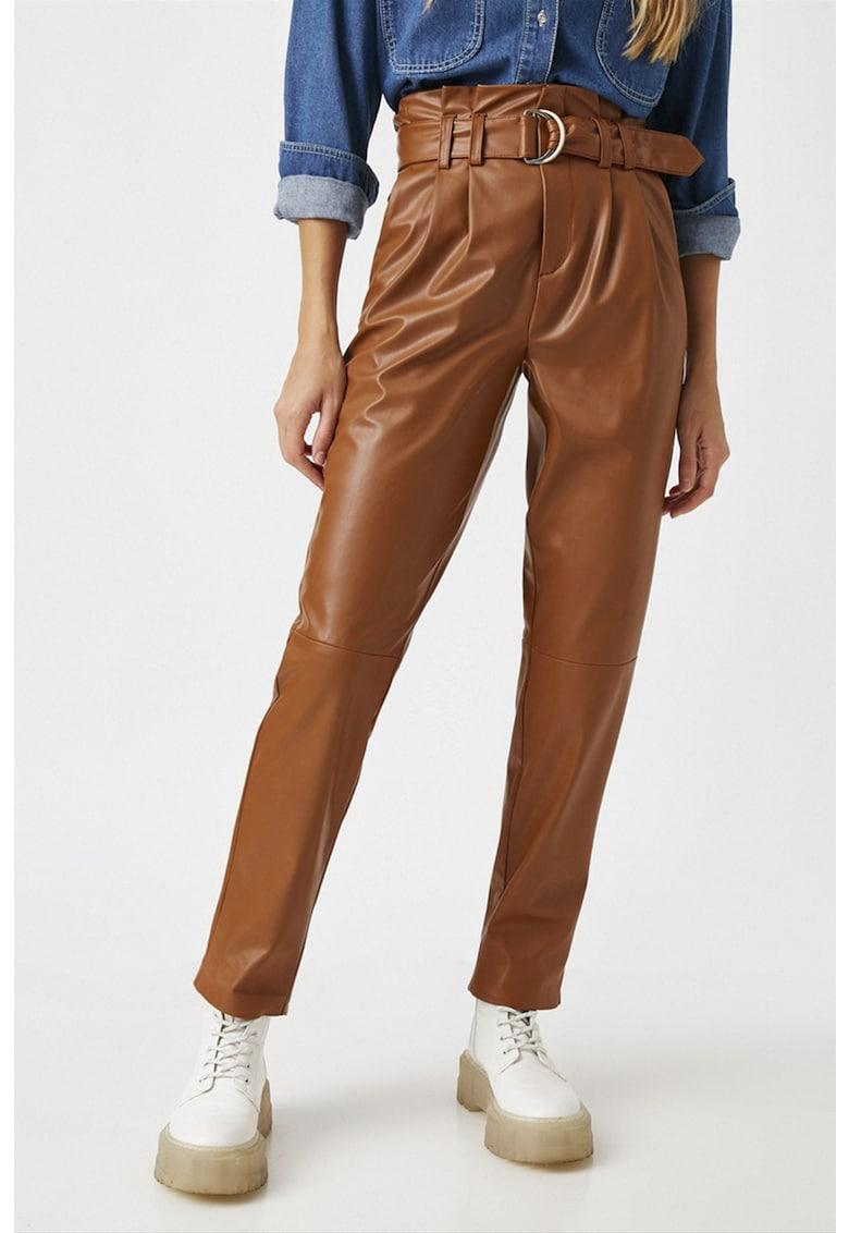 Pantaloni de piele ecologica cu talie inalta imagine