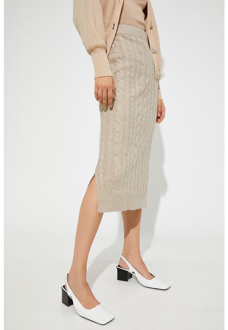 Fusta tricotata cu torsade si slituri laterale Calbe KOTON fashiondays.ro