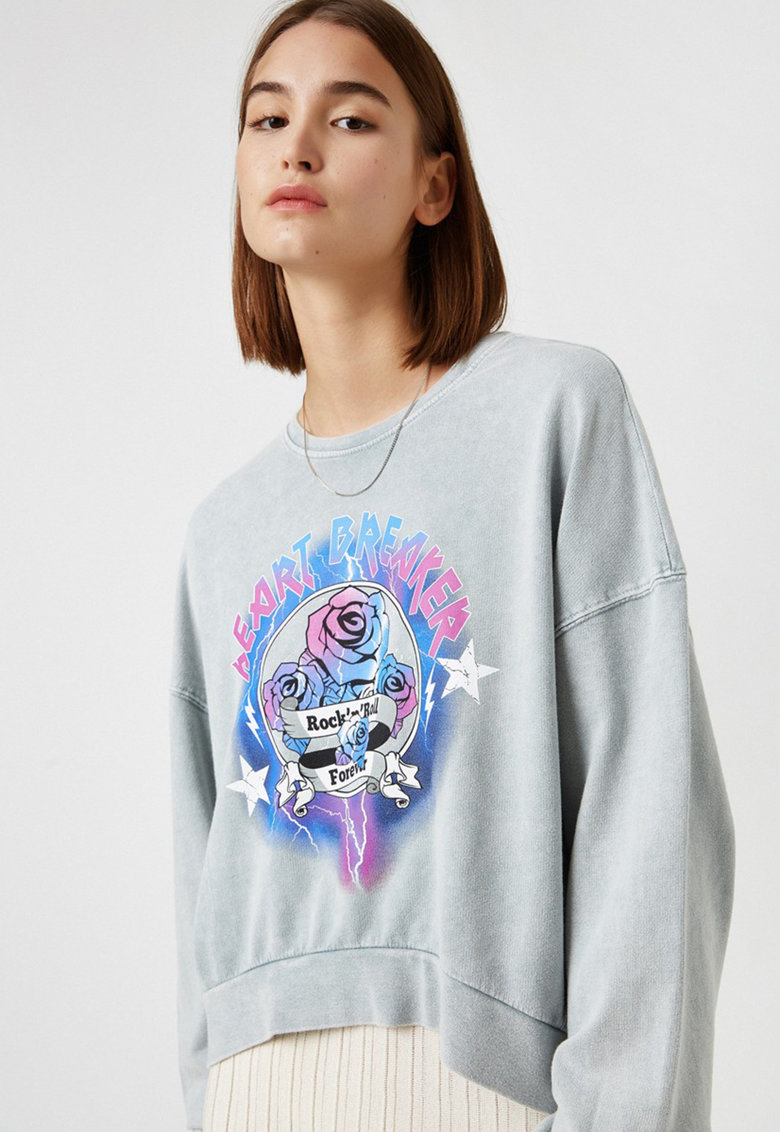 Bluza sport cu maneci cazute si aspect decolorat