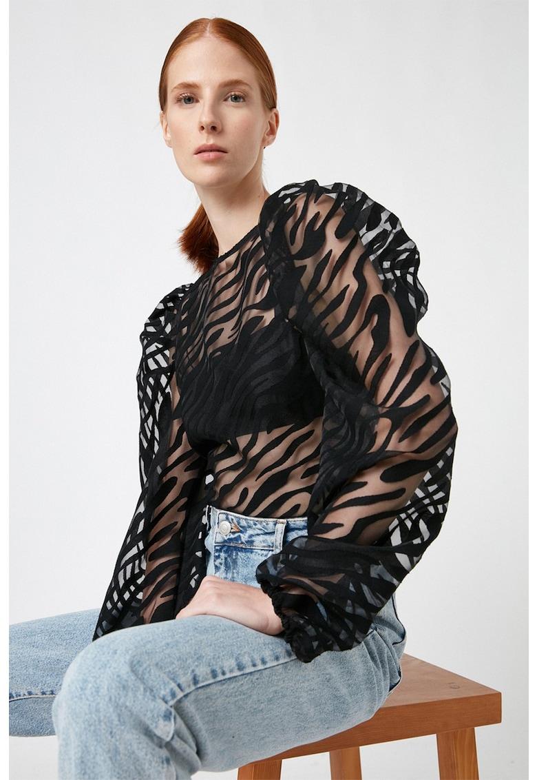 Bluza semi-transparenta cu maneci bufante de la KOTON