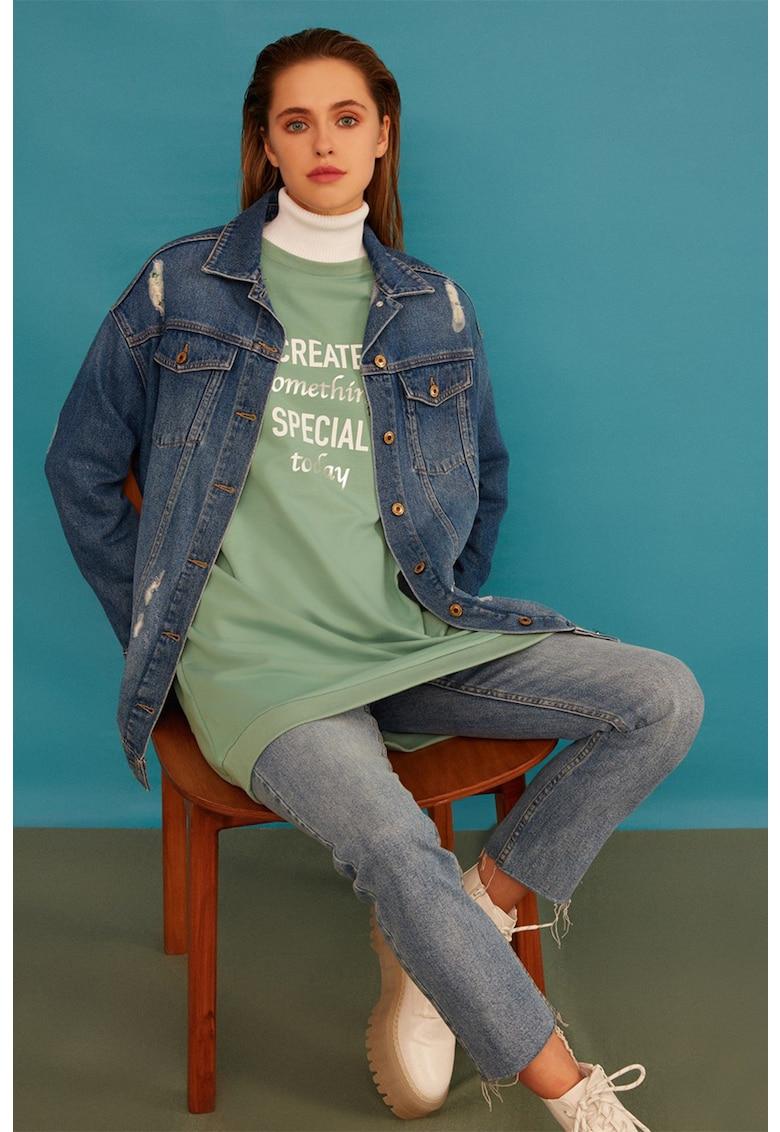 Bluza sport lunga cu imprimeu text