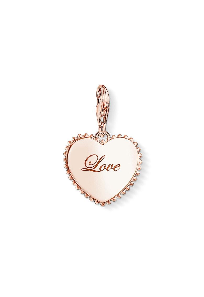 Talisman in forma de inima de argint placat cu aur de 18k imagine