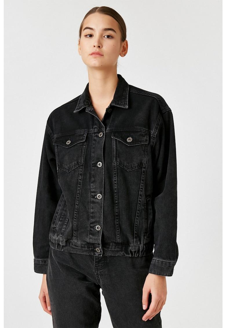 Jacheta din denim cu terminatie elastica