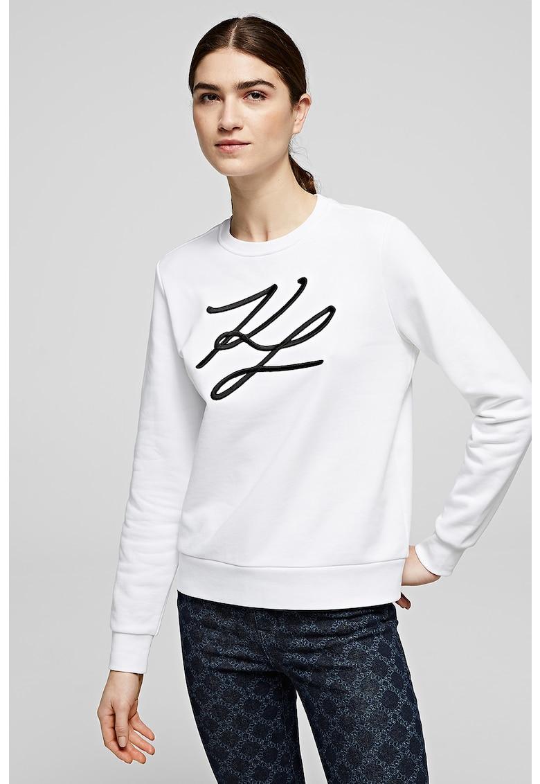 Bluza sport cu decolteu la baza gatului si logo brodat Signature fashiondays.ro