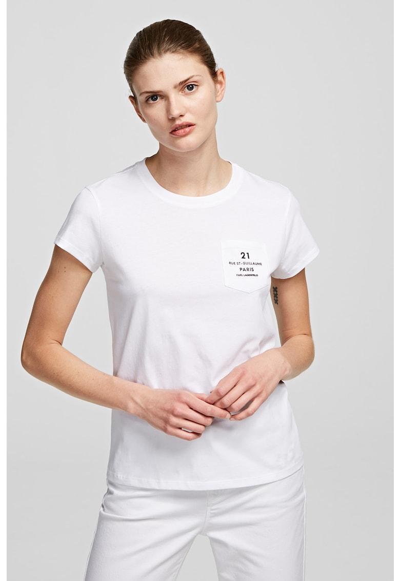 Tricou cu decolteu la baza gatului si buzunar pe piept de la Karl Lagerfeld