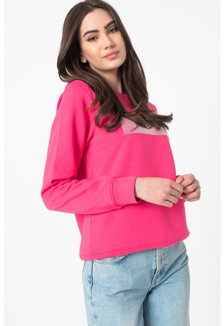 Bluza sport cu aplicatie de strasuri imagine