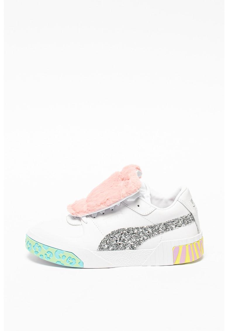 Pantofi sport de piele cu aplicatii de blana sintetica si aplicatii stralucitoare RS-x