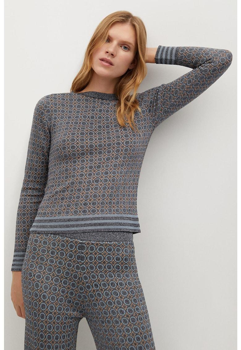 Pulover tricotat fin cu imprimeu geometric Nico