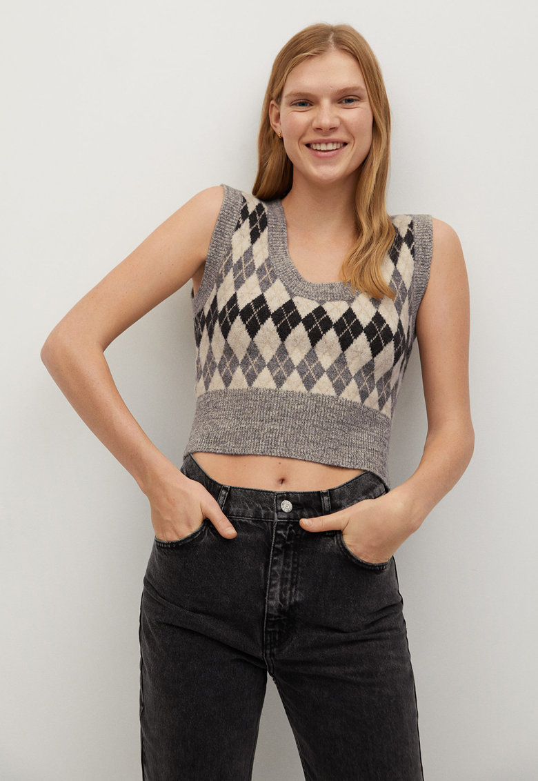 Top crop tricotat fin cu model geometric Lana imagine promotie